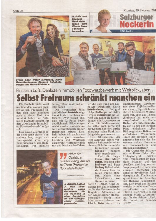 "Article on the price giving event in the ""Krone Zeitung"""